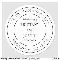 Brittany Circular Return Address Label Wedding #wedding #invitations #envelopes #addresslabels #modern Minimalist Invitation, Minimalist Wedding Invitations, Simple Line Drawings, Couple Shower, Wedding Stickers, Personalized Note Cards, Return Address Labels, Brittany, Custom Stickers