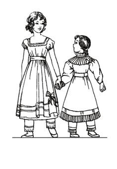 children's costume 1820 | Colouring in Pictures of Early C19 th Children's Fashions 1820 to 1830