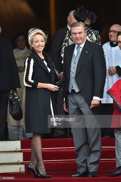 Princess Camilla of Bourbon-two Sicilies and Prince Charles of Bourbon-two Sicilies arrive for a mass at the Cathedral of Monaco during the official ceremonies during the Monaco National Day Celebrations on November 19, 2015 in Monaco, Monaco.