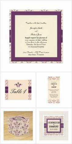 Plum and Champagne Damask Wedding Damask Wedding, Elegant Wedding, Plum Purple, Invitation Set, Champagne, Reception, Place Card Holders, Frame, Floral