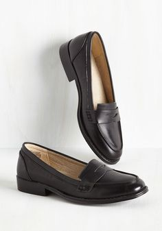 Only a Dapper of Time Loafer in Black - Flat, Faux Leather, Black, Solid, Work, Variation, Low