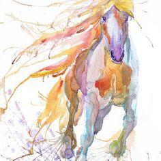 Horse art print, abstract horse painting ,  wild horse art,  watercolor, horse lover, horse decor, wild horse, animal art, art print