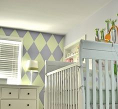 custom hand painted harlequin pattern nursery wall