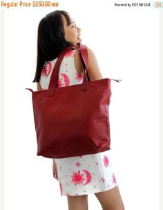 SALE Large tote bag , Embossed leather bag , Leather market bag