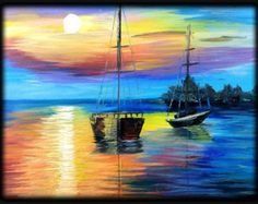 Sunset and Sailboat Acrylic Painting