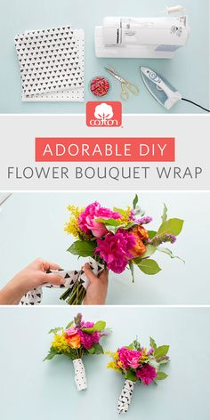"""Say """"I do"""" to this super easy (and adorable) DIY flower bouquet wrap.  Follow along for the how-to from us and @britandco and have some fun with  your gal pals while prepping for the big day. Bonus: the bouquet wrap doubles as a headband or apron!"""
