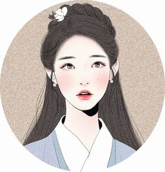"Incredibly beautiful fan art of IU (아이유). Drawing is of her as Hae Soo/Go Ha-jin from the K- drama, ""Moon Lovers: Scarlet Heart Ryeo"". Cartoon Kunst, Cartoon Art, Korean Art, Asian Art, Korean Drama, Fantasy Kunst, Fantasy Art, Drawn Art, Kpop Fanart"