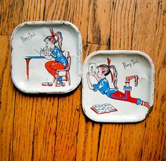 Vintage Pair of Ponytail Tin Toy Teen Collectible Early 1960s