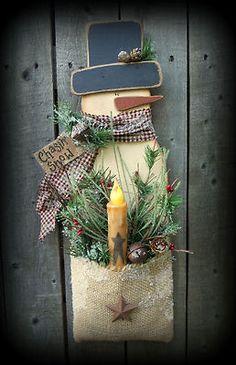 Snowman Wood Craft Burlap Pattern Winter K213 Timer Tapercandle Light Primitive   eBay