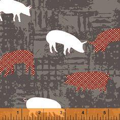 Lily Gonzalez - Farm to Fork - Pigs - Grey : Sew Modern