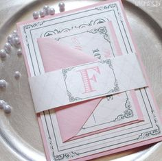 Pink Wedding Invitations - Wedding Suite with Belly Band, Pink and Gray Wedding Invitation