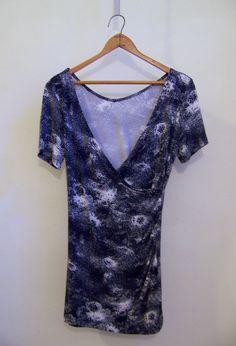 ESCADA SPORT Faux Wrap w/ Ruched Side Tee Shirt Top Sz XS Blue & White #EscadaSport #Pullon