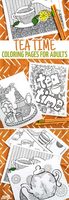 """I love these fun printable tea coloring pages for adults! This cool 5 page colouring packet for grown-ups comes with different levels of complexity on a """"tea time"""" theme so that you can choose wichever suits your mood. You'll love these fun advanced and d"""