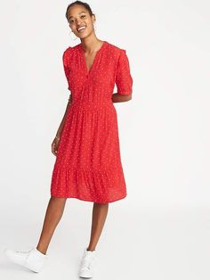 Old Navy Women's Waist-Defined Shirt Dress Red Dot Regular Size M Old Navy Outfits, Toddler Girl Gifts, Shop Old Navy, Old Navy Women, Ruffle Trim, Dresses For Work, Fashion Outfits, Shirt Dress, Comfy Clothes