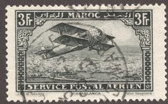 "French Morocco 1922-27 air post 3fr gray black ""Biplane over Casablanca"""