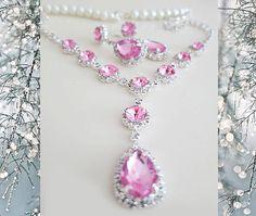 Pink Crystal Wedding Jewelry Set - Bridal Necklace Drop Earrings - Pearl Pink Rhinestone Jewelry - Wedding Jewelry Bridesmaids