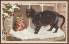 C12586 Good Victorian New Year Card: Cats in Snow. Helena Maguire.