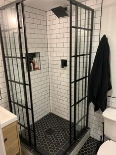 DreamLine French Corner in. x 72 in. Framed Corner Sliding Shower Enclosure in Satin – The Home Depot - Modern Bad Inspiration, Bathroom Inspiration, Small Bathroom Layout, Small Bathroom With Shower, Small Bathroom Ideas, Black And White Bathroom Ideas, Showers For Small Bathrooms, Small Bathroom Makeovers, Black Bathroom Decor