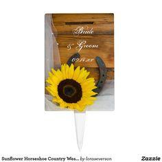 Sunflower Horseshoe Country Western Wedding Cake Topper