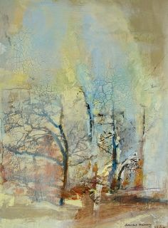 "Mixed Media Artists International: Abstract Mixed Media,Collage Art Painting, Trees,""Ancient Memory"" by Intuitive Artist Joan Fullerton"
