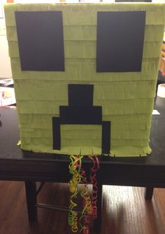 Creeper piñata for my sons 6th Birthday! It was easier to make than I thought!!!