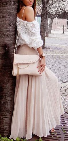 Pale pink pleated maxi skirt.