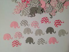 FREE SHIPPING 100 gray and pinks chevron elephant confetti- baby girl shower- customize colors- table decoration