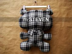 Snuggly soft bear pillows made from men's old button-up shirts.