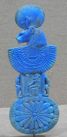 Egyptian Necklace counterpoise with aegis of Sakhmet  Period: New Kingdom, Ramesside Dynasty: Dynasty 19–20 Date: ca. 1295–1070 B.C. Geography: Egypt Medium: Faience