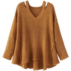 Brown V-neck Distressed Long Sleeve Dipped Hem Knit Jumper ($43) ❤ liked on Polyvore featuring tops, sweaters, shirts, brown long sleeve shirt, ripped sweater, brown sweater, v neck long sleeve shirt and distressed sweater