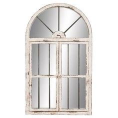 "Weathered window-inspired wall mirror with hinged doors.Product: Wall mirrorConstruction Material: Wood and mirrored glassColor: Distressed white and silverDimensions: 42"" H x 25"" W x 2"" DCleaning and Care: Wipe with dry cloth"