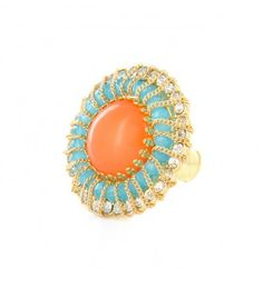 Coral And Turquoise Royal Ring *Was $28.00*