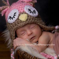 Crochet Newborn Baby Girl Sleepy Owl Hat with Ear by NeedleKrazy, $26.00