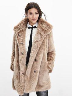 So want!!! BR Monogram Faux-Fur Coat Product Image