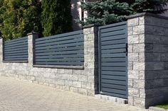 Znalezione obrazy dla zapytania ogrodzenie palisadowe House Fence Design, Fence Gate Design, Modern Fence Design, Front Gate Design, Privacy Fence Designs, Best Modern House Design, Home Garden Design, Compound Wall Design, Front Courtyard