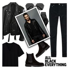 """Mission Monochrome: All-Black Outfit"" by the-geek-goddess ❤ liked on Polyvore featuring A.P.C., Uniqlo, BLK DNM, EyeBuyDirect.com, Citizen, Valentino, ADAM, men's fashion, menswear and allblackoutfit"
