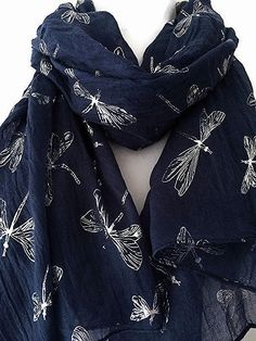 A large navy blue scarf with a silver tone dragonfly print long wide and  very soft 12837e8daba15