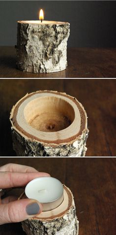 Zijn er nog stukken van de eikenboom? Leuk voor bij prentje Opa DIY birch wood candle holder - tutorial from oleander and palm