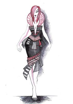 Great collection of different fashion drawings on this site. Check it out