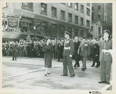 Her Majesty The Queen outside Eaton's department store downtown Vancouver 1951 Downtown Vancouver, Vancouver Island, Suspension Bridge Vancouver, Canadian History, Her Majesty The Queen, Lest We Forget, History Facts, Department Store, Back In The Day