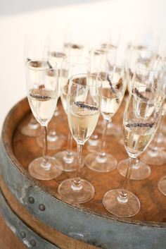 Champagne with lavender -Photos by Mallory Miya Photography