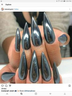 FIERCE CHROME look nail art design on stiletto shaped nails. Are you looking for short and long acrylic stiletto matte nail design for winter and spring? See our collection full of short and long acrylic stiletto matte nail design for winter and spring and get inspired!
