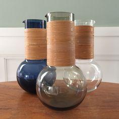Kaj Franck 1621 pitcher with rattan. Glass Vessel, Glass Art, Glass Pitchers, Glass Design, Design Crafts, Rat, Scandinavian, Midcentury Modern, Projects To Try