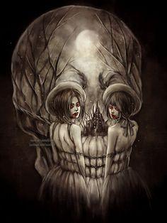 Sisters of Mercy by NanFe on DeviantArt – Beauty Pins Illusion Paintings, Illusion Art, Arte Horror, Horror Art, Dark Fantasy Art, Art Sinistre, Art Noir, Totenkopf Tattoos, Tattoo Ideas