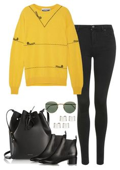 """""""718."""" by mcweary ❤ liked on Polyvore featuring Topshop, Moschino, Mansur Gavriel, Acne Studios, Maison Margiela, Ray-Ban and acne"""