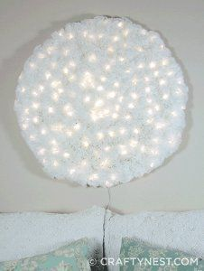 Giant Coffee Filter Snowball Light Christmas Crafts from Recycled Materials