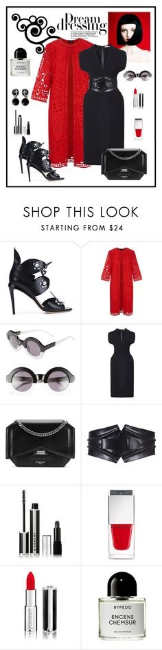 """""""St. John Embroidered Lace Coat Look"""" by romaboots-1 ❤ liked on Polyvore featuring Fendi, INC International Concepts, St. John, Wildfox, Maticevski, Givenchy, Safiyaa, Liberty and NOVICA"""