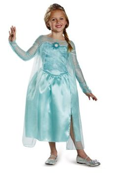 Disguise Disney's Frozen Elsa Snow Queen Gown Classic Girls Costume, Medium/7-8  -- #HalloweenCostumesForGirls