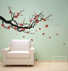 Vinyl Wall Decals Cherry Blossom Wall Decal Sakura Tree - Nursery Wall Decal Nursery Branch Wall Mural Tree Wall Decal Home Decor Art. $59.00, via Etsy.