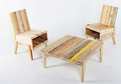 Estonian furniture makers/brand Derelict makes these cool pieces from reclaimed wood. Combining the old, salvaged material with new, crisp and clever design makes them a great ScrapHacker role model